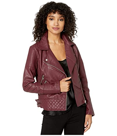 YMI Snobbish Faux Leather Jersey Lined Moto Jacket (Sangria) Women