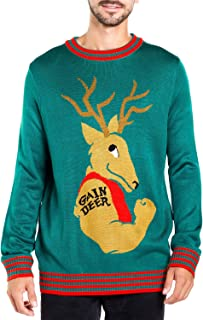 Men's Funny Weightlifting Ugly Christmas Sweater - Gain Deer Funny Xmas Sweater