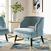 Modway Traipse Button Tufted Open Back Performance Velvet Armchair, Light Blue
