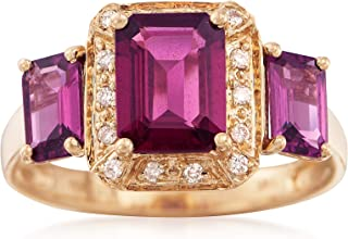 Ross-Simons 3.90 ct. t.w. Rhodolite Garnet Ring With Diamond Accents in 14kt Yellow Gold