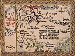 Map of Middle Earth The Lord of The Rings Vintage Style Fabric Canvas Cloth Poster Print for Bar Office Room Wall Print Home Decoration 14x17.99inch(35.6x45.7cm) Unframed (Style K)