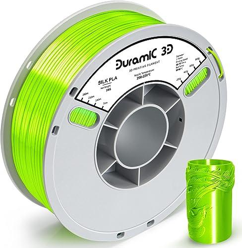 Duramic 3D Shiny Silk PLA Filament 1.75mm Neon Green, Shiny Neon Green Metallic PLA Filament Dimensional Accuracy +/-...