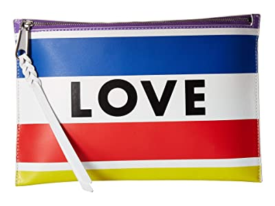 Rebecca Minkoff Medium Zip Pouch Love Stripe (Rainbow) Clutch Handbags