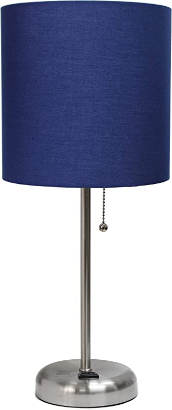 Limelights LT2024 NAV Stick Lamp With Charging Outlet And Fabric Shade Navy