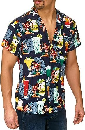 Indicode Caballero Charlton Camisa Hawaiana con Bolsillo en el Pecho de 100 % Viscosa   Regular Fit Manga Corta Camisa Vacaciones Verano, Sol, mar y ...