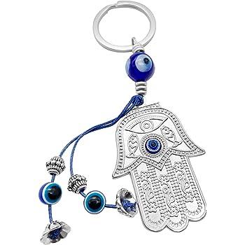 Bleu Clair Alliage Verlike Porte-cl/és en Forme de Main de Fatma Bleu Evil Eye