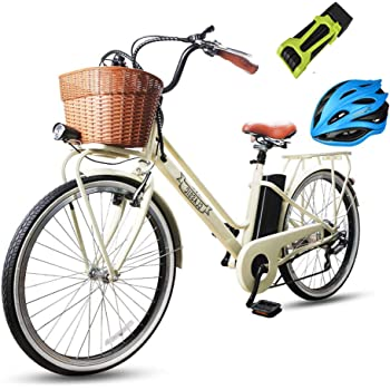 """NAKTO Electric Bicycle Electric Bikes for Adults 250W Brushless Motor Ebike E-Bikes with Removable Waterproof Large Capacity 36V10A Lithium Battery and Charger(20""""/26"""")"""