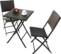 Grand patio Parma Rattan Patio Bistro Set, Weather Resistant Outdoor Furniture Sets with Rust-Proof Steel Frames, 3 Piece Bistro Set of Foldable Garden Table and Chairs, Brown