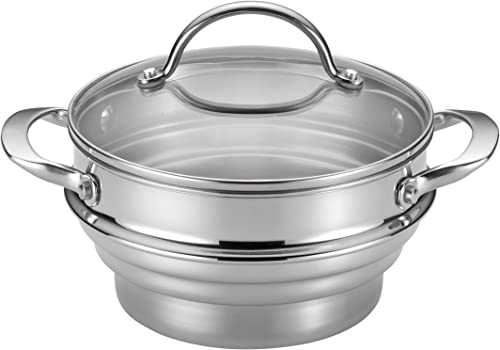 Anolon-Classic-Stainless-Steel-Steamer-Insert-with-Lid,-Silver