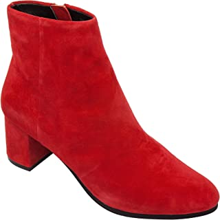 Bree - Low Mid Block Heel Ankle Bootie Boot Comfortable Insole Padded Arch Support Red 8.5M