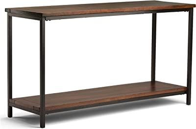 Simpli Home Skyler SOLID WOOD and Metal 54 inch Wide Modern Industrial Console Sofa Entryway Table in Dark Cognac Brown with Storage, 1 Shelf, for the Living Room, Entryway and Bedroom