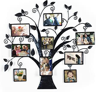 Asense Metal Wall Hanging Tree Photo Frame, 9 Opening Decorative Collage Family Frame