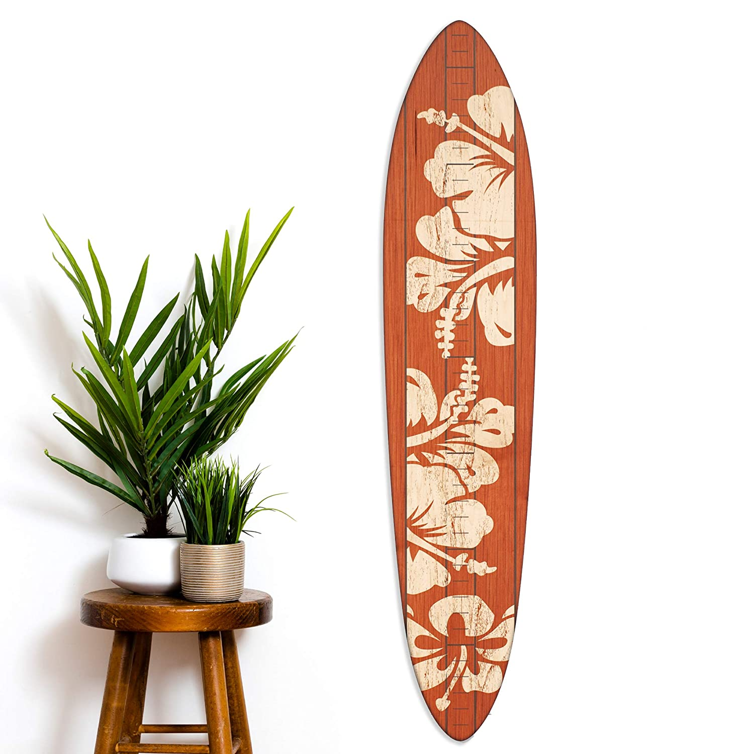 Vintage 与え Wooden Surfboard Growth Chart Height バーゲンセール for Bo Wood