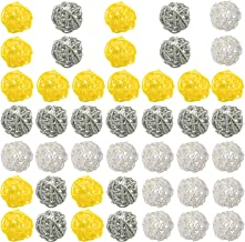 HaiMay 45 Pieces Mixed 3 Colors Wicker Rattan Balls Decorative for Vase Fillers,Bird Toys,Garden,Party,Wedding,Table Decor...