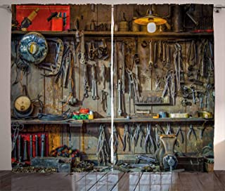 Ambesonne Man Cave Decor Curtains, Vintage Tools Hanging On A Wall in A Tool Shed Workshop Fixing Equipment, Living Room B...