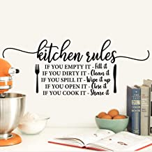 My Vinyl Story - Kitchen - Decor Kitchen Wall Decals Quote for Family Dining Room Home Decoration Art Words and Saying Sticker Sign Family Decor Removable Vinyl Lettering Gift (Kitchen Rules)