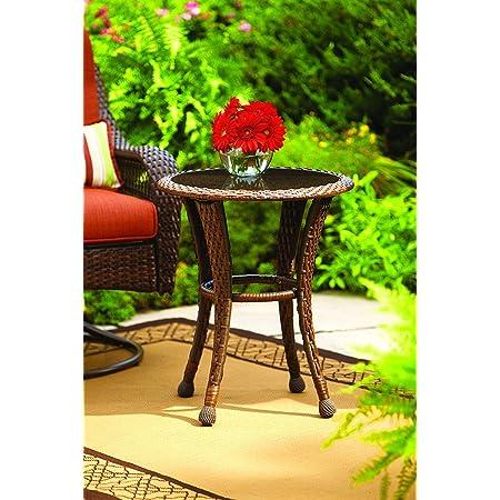 Amazon Com New Better Homes And Gardens Azalea Ridge 20 Wicker Round Outdoor Side Table 24 H X 19 75 D Steel Frame Glass Top Garden Outdoor
