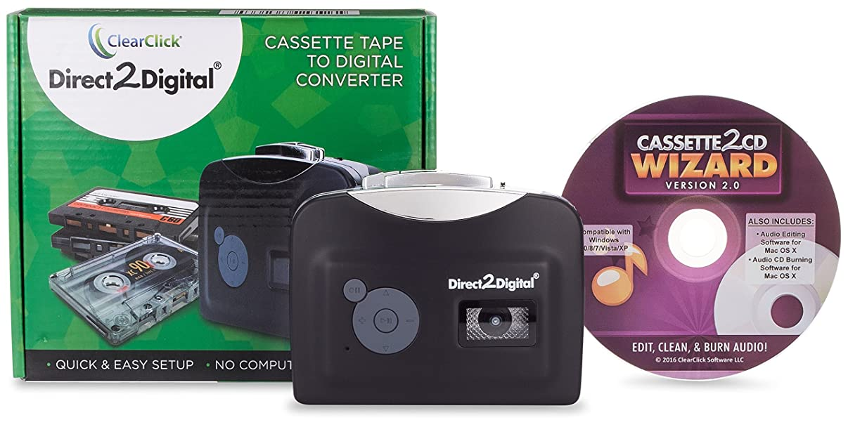 ClearClick Direct To Digital Cassette Tape Converter with Cassette To CD Wizard 2.0 Software