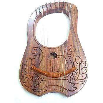 Lyre-harpe gravée en bois de Sheesham - 10cordes en métal - Housse de transport incluse + clé - Design de style palissandre irlandais