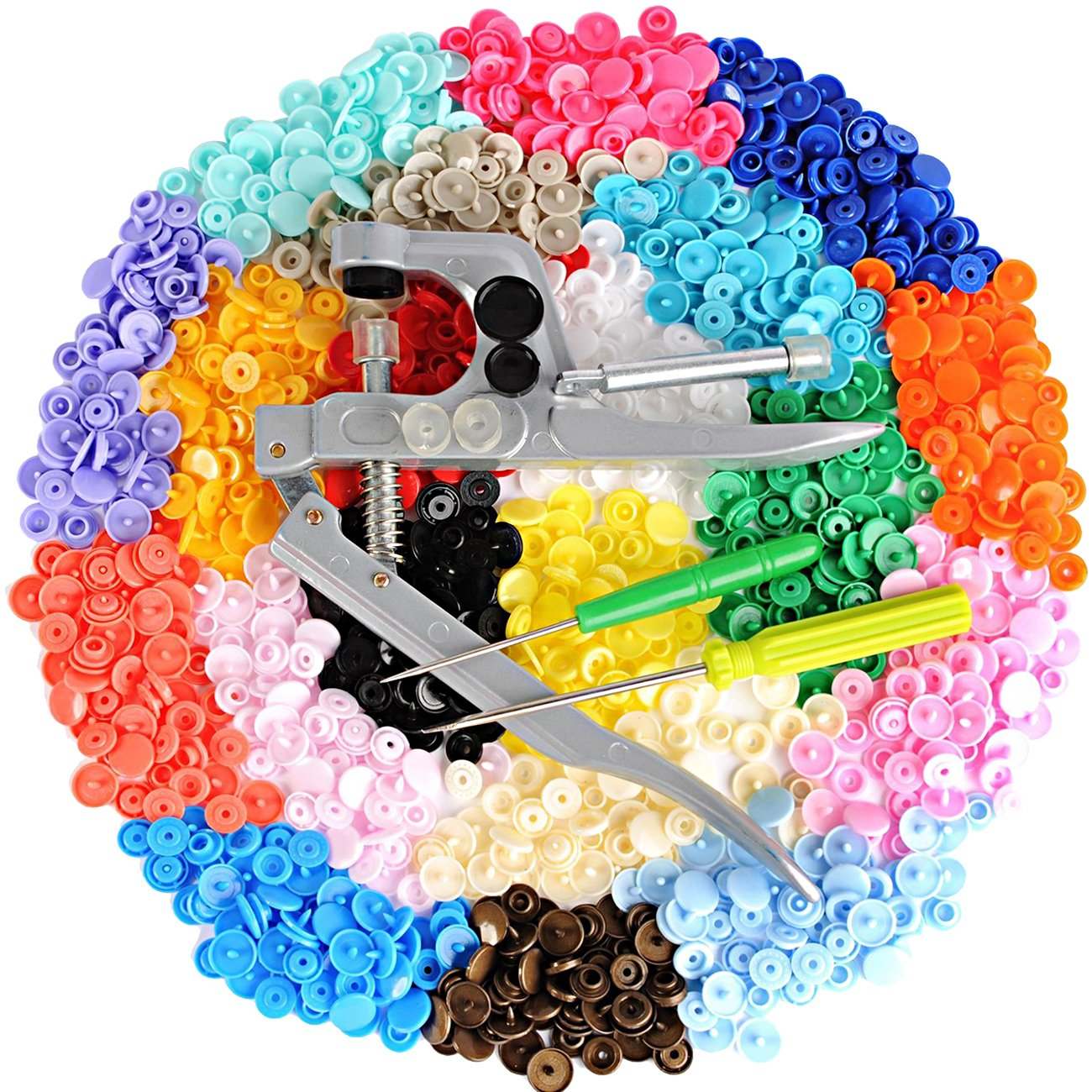 LIHAO 360 Sets T5 Snaps Fastener Craft Buttons for Fabric Cloth Diaper