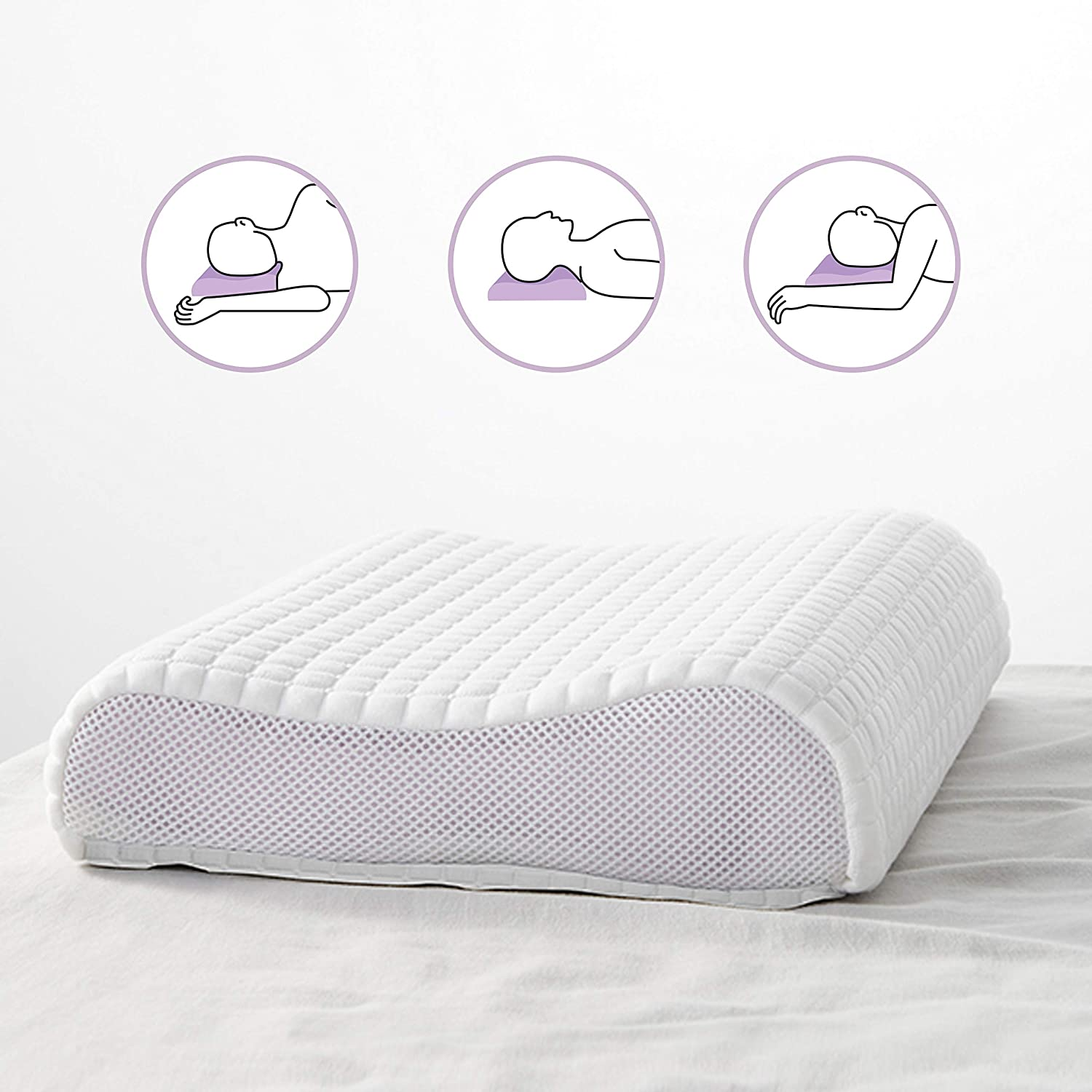 DAPU Purple Pillow Optimal Head Neck Support for Hot Sleepers 360/º Grid Hex Soft Responsive Moisture-Wicking