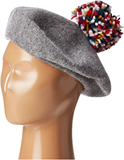 Wool Beret with Multi Confetti Pom