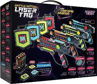 مجموعه برچسب لیزری قابل شارژ Squad Hero LCD های نوآورانه و همگام سازی - بسته 4 اسلحه مادون قرمز