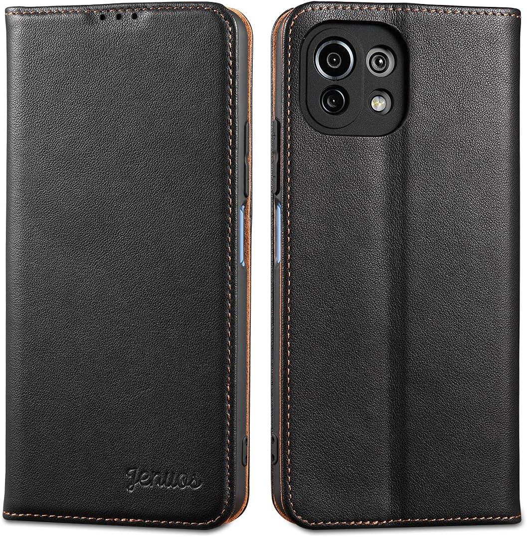 Jenuos Funda Xiaomi Mi 11 Lite 5G / 4G, Carcasa Libro Cuero Genuino [Bloqueo RFID] con Tapa Cierre Magnético y Ranura Tarjeta Piel Cartera para Xiaomi Mi 11 Lite 5G / 4G-Negro(M11L-PD-BK)