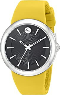 Philip Stein ' Japanese Quartz Stainless Steel and Silicone Watch, Color:Yellow (Model: F36S-LCB-Y)