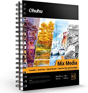 """Mix Media Pad, Ohuhu 10""""×7.6"""" Mixed Media Art Sketchbook, 120 LB/200 GSM Heavyweight Papers 62 Sheets/124 Pages, Spiral Bo..."""