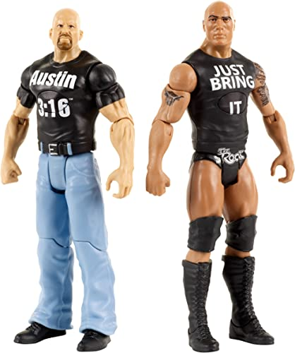WWE – Tough Talkers – Stone Cold Steve Austin & The Rock – 2 Figurines Articulées Parlant Anglais