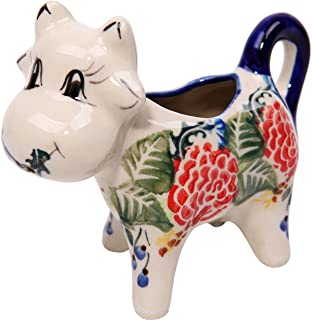Polish Pottery Ceramika Boleslawiec 0501/280 Royal Blue Patterns with Red Rose Motif Creamer Cow, 1/3-Cup