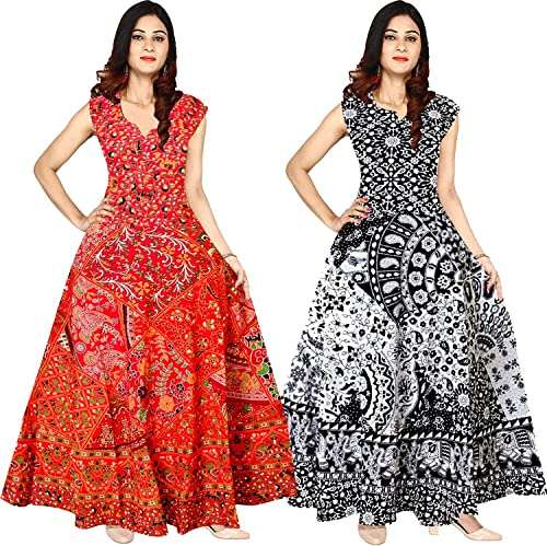 Rajasthani Print Women s Long Midi Dress Jaipuri Floral Print Cotton Maxi Multicolor up to 44 XXL Free Size Set of 2 dress