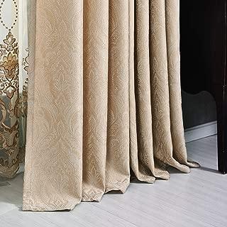 VOILYBIRD Damask Room Darkening Curtains Soft Jacquard Velvet Draperies for Bedroom (Beige, W52 x L84, 2 Panels)