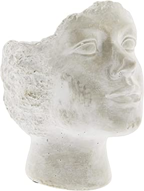 "Lucky Winner Whitewashed Cement Stone Statue Head Planter (9.5"")"