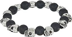 Matte Black Agate Skull Bracelet