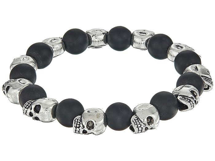Dee Berkley  Matte Black Agate Skull Bracelet (Black) Bracelet