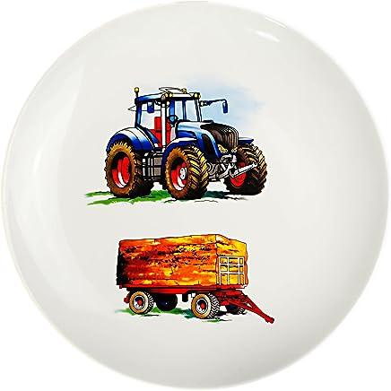Preisvergleich für Unbekannt großer Teller - Kinderteller - Traktor - Trecker mit Anhänger - Bauernhof - Ø 21 cm - aus Porzellan / Keramik - Speiseteller / Frühstücksteller / Eßteller..