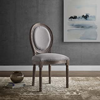 Modway Emanate French Vintage Upholstered Fabric Kitchen and Dining Room Chair in Light Gray - Fully Assembled