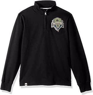 adidas Adult Men MLS Crest Lifestyle 1/4 Zip, Black, Large