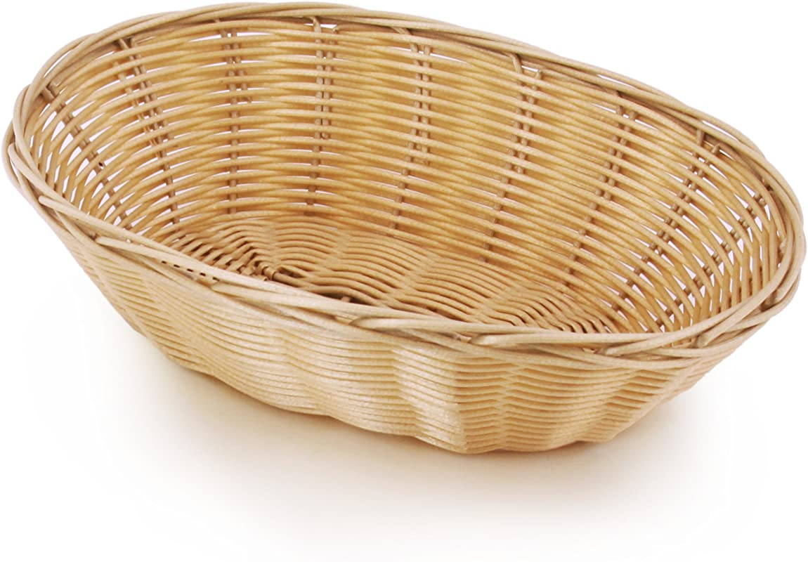 New Star Foodservice 44225 Food Serving Baskets 9 5 X 6 5 X 2 75 Inch Oval Hand Woven Polypropylene Set Of 12 Natural