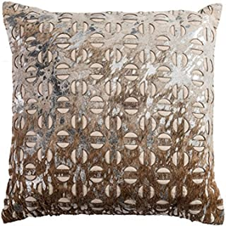 """Rizzy Home Poly Filled Throw Pillow, PILT09234BEBR2020, Beige, 20"""" x 20"""""""