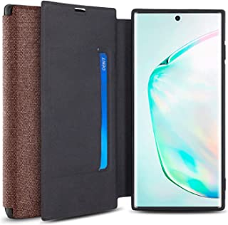 Olixar for Samsung Galaxy Note 10 Plus 5G Canvas Wallet Case - Slim Cover - [Wallet Case] - Interior Credit Card Slot & Media Viewing Stand - Brown