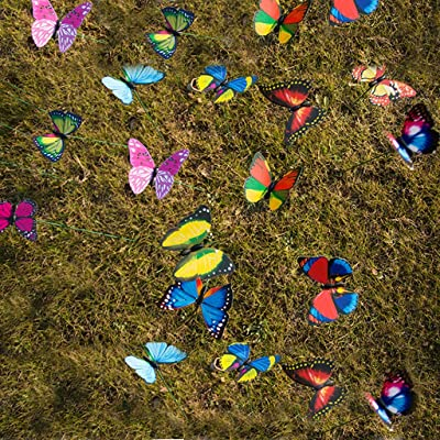 L.Home 24 Mariposas en Palos, estacas de Mariposas Coloridas para jardín, diseño de Mariposas y libélula, para decoración de jardín, Patio, jardín, Navidad, Palos de 30 cm: Amazon.es: Jardín