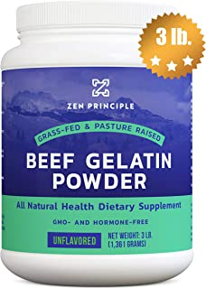 EXTRA LARGE Grass-Fed Gelatin Powder, 3 lb. Custom Anti-Aging Protein for Healthy Hair, Skin, Joints & Nails. Paleo and Keto Friendly Cooking and Baking. Type 1 and 3 Collagen. GMO and Gluten Free.