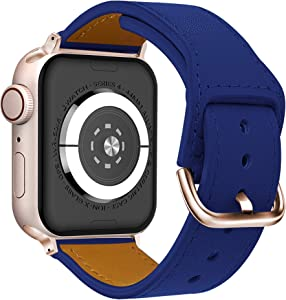 ONMROAD Leather Bands Compatible with Apple Watch 40mm 38mm, Flexible Glossy Leather Texture Strap for iWatch Series 6 & Series SE & Series 5 & Series 4(Blue Strap+Rose Gold Adapter)