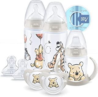 NUK Disney First Choice+ First Years Set | 0+ Months | Temperature Control | 2 x 300 ml Bottles, 1 x Learner Cup, 2 x Soot...