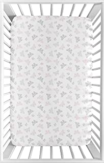 Sweet Jojo Designs Pink, Grey and White Butterfly Baby Girl Fitted Mini Portable Crib Sheet for Alexa Collection - for Mini Crib or Pack and Play ONLY