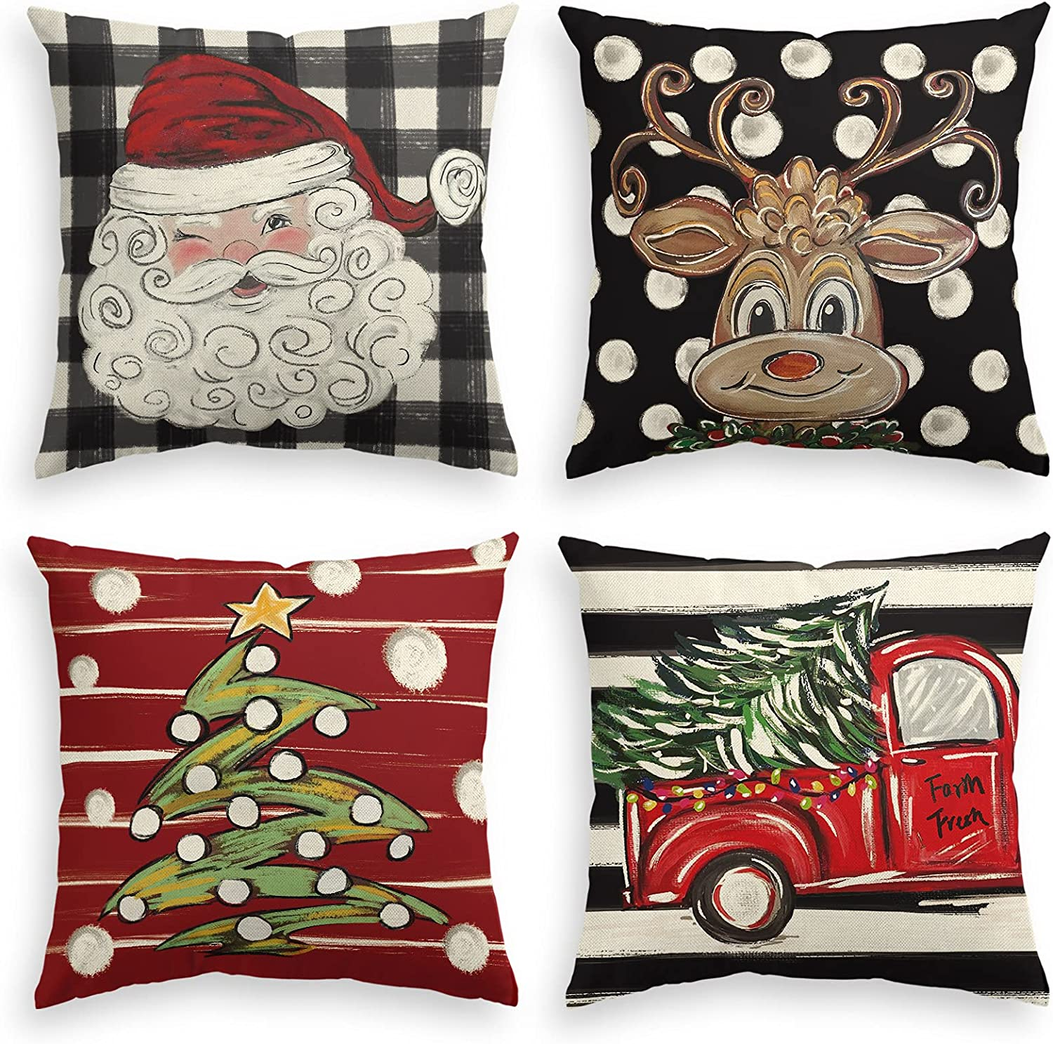 Special price for a limited time AVOIN colorlife Merry Christmas Watercolor R Translated Buffalo Plaid Santa
