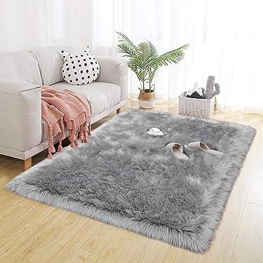 BENRON Faux Sheepskin Fur Super Soft Living Room Rugs, Luxury Bedroom Faux Fur Rugs, Rectangle Warm Shaggy Area Rug 3X5 Feet Gray